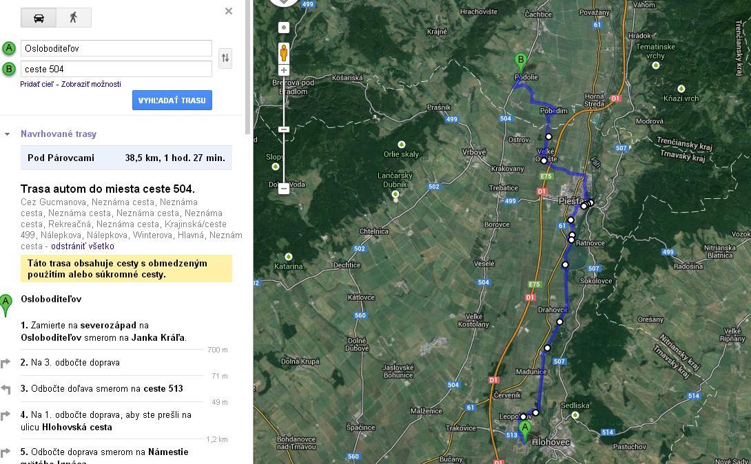 pieštany google maps